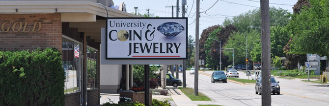 univ coin jewelery sign